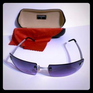 Purple rimless authentic Chanel Sunglasses w/case